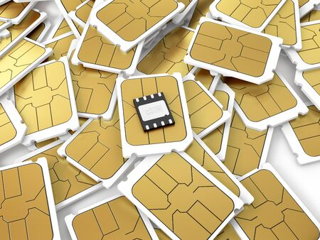 Embedded SIM laying on a pile of micro SIM cards. 3D illustration.