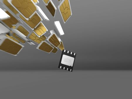 Concept of the innovation embedded SIM card, that replaces several ordinary cards. 3D render. Banco de Imagens