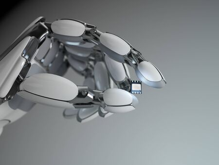 Robot hand holding the embedded SIM card. 3D rendering.