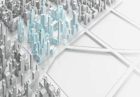White template of abstract city. 3d illustration. Фото со стока