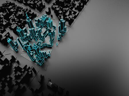 Black template of abstract city with copy space. 3d illustration.