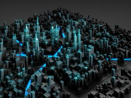 Perspective view of night cityscape with wireless connection line. Smart city technology. 3d rendering.