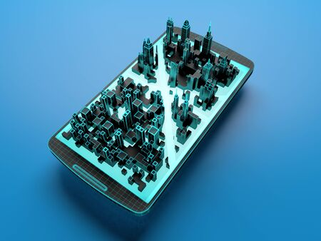 Smart city application on a smartphone screen. 3d illustration.