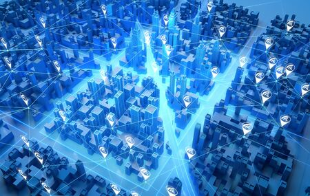 Perspective view of cityscape with wireless communication network. Smart city technology. 3d rendering.