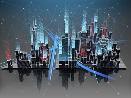 Digital city with smart technology. 3D rendering.
