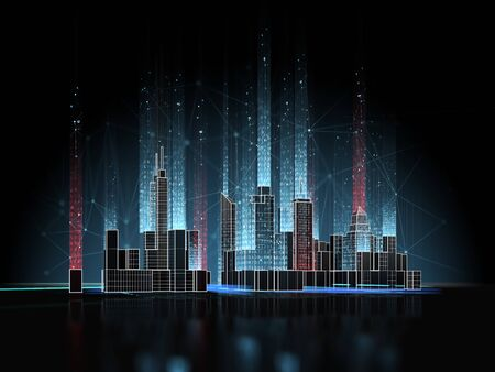 Smart city concept on dark background. Cityscape with wireless connections and digital technology. 3d rendering.