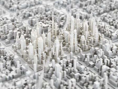 Concept of futuristic city with wireless technology. 3d illustration. Фото со стока