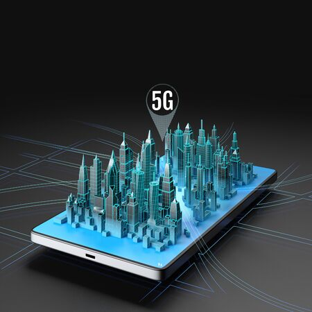 Hologram of smart city on the phone screen and icon of the 5g above the town. 3d illustration. Фото со стока