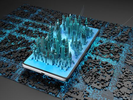 Digital city on the smartphone screen on urban background. 3d illustration. Фото со стока