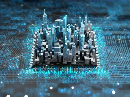 Futuristic city on motherboard with cpu. Concept of smart technology. 3D rendering.