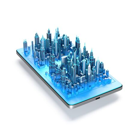 Smart city application on smartphone screen. 3d illustration.