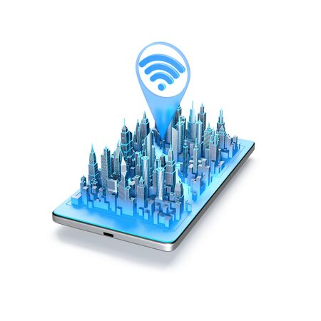 Wifi or wireless internet signal icon above the city on smartphone. 3d illustration. Фото со стока
