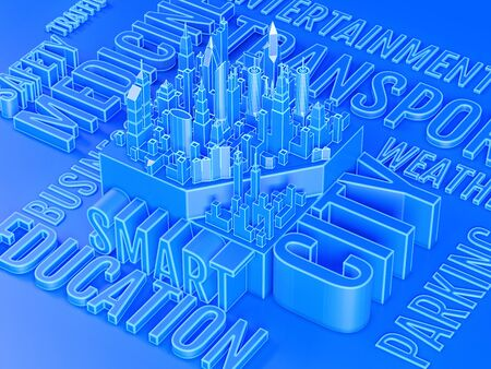 3d illustration of smart city with tags cloud on blue background.