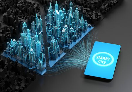 Digital cityscape next to smartphone with smart city application on screen. 3d illustration.