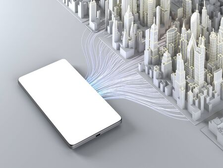 Smartphone with empty screen connected to model of smart city. 3d illustration.