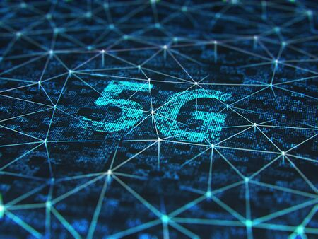 Sign of the 5g on digital screen, close up. 3d illustration.