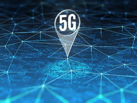 5G symbol on digital background with blue connection lines. 3D illustration.