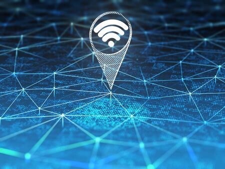 Wifi symbol on digital background with blue connection lines. 3D illustration. Фото со стока