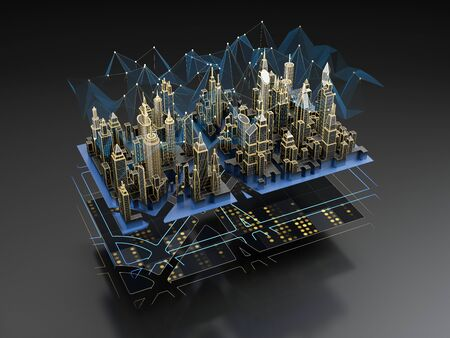 Futuristic layers of the digital city - engineering сommunication, transport infrastructure, wireless, smart technology. 3D illustration. Фото со стока