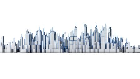Cityscape isolated on white background. 3d illustration.