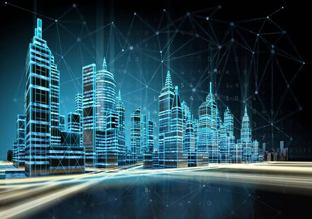 Futuristic cityscape view with luminous wireless connection lines. 3d illustration. Фото со стока
