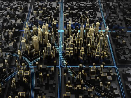 Aerial view of modern night city with lines of transport infrastructure. 3d illustration