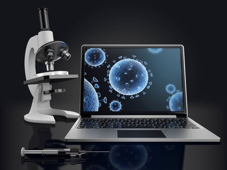 X-Ray illustration of viral cells on laptop screen and microscope with petri dish on dark background. 3D render.