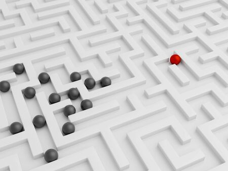 Leadership concept with red and black balls in white maze. 3d render.