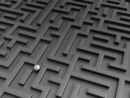 Leadership concept with steel  ball in black maze. 3d render.
