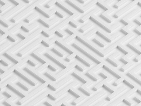 Isometric view of white geometric maze. 3d render of labyrinth.