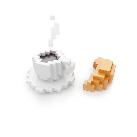 White cup of black coffee and croissant on white background. 3d illustration in voxel style.