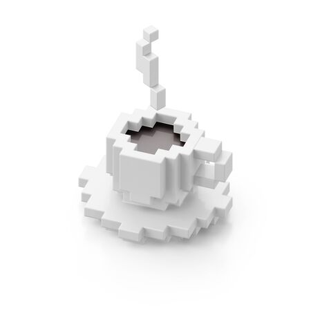 White cup of black coffee in voxel style isolated on white background. 3d illustration. 写真素材