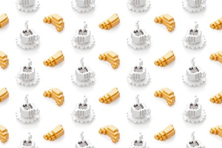 Seamless pattern with cup of coffee and croissants. 3d illustration in voxel style. 写真素材