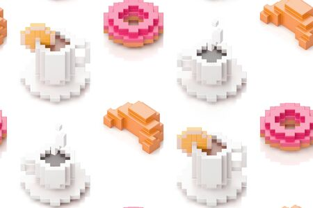 Seamless pattern with cup of coffee, donuts and croissants. 3d illustration in voxel style.