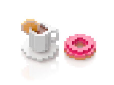White cup of black coffee and donut on white background. 3d illustration in voxel style.
