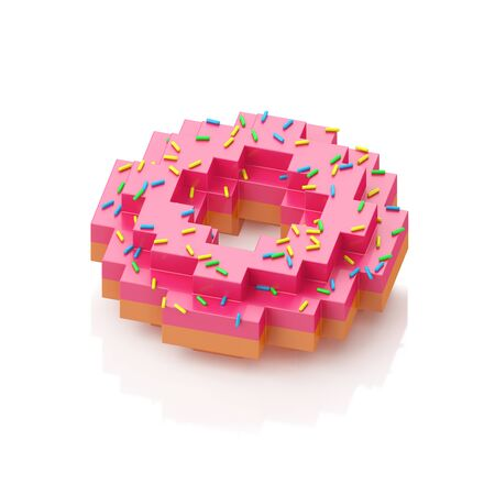 Donut with colorful sprinkles on white background. 3d illustration in voxel style.