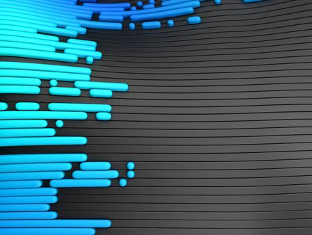 Abstract wavy lines and stripes in blue and black colors. 3d render.