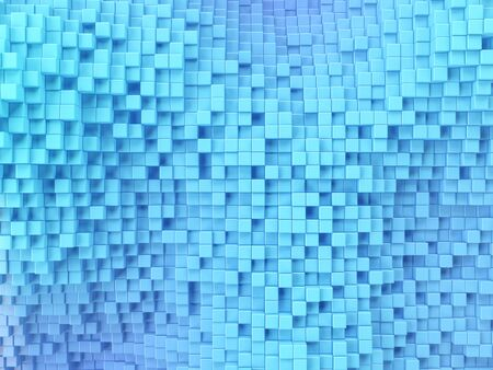 Geometric pattern of blue cubes on background. 3d render.
