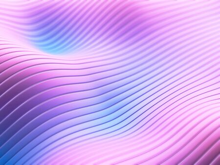 Blue pink soft gradient. Abstract flowing lines and stripes on wavy surface. 3d illustration.