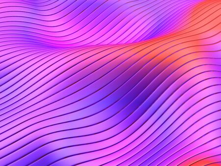 Abstract flowing lines and stripes on wavy surface in vibrant bold gradient colors. 3d illustration. 写真素材