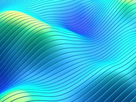 Abstract flowing lines and stripes on wavy surface in blue yellow vibrant gradient colors. 3d illustration.