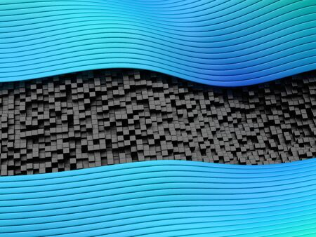 Abstract wavy lines and stripes in blue colors on black solid cubes. 3d render.