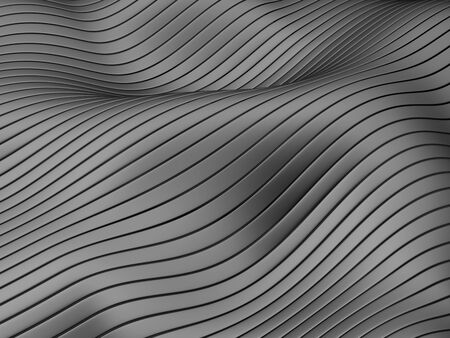 Abstract flowing lines and stripes on wavy black surface. 3d illustration.