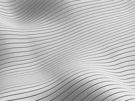 Abstract flowing lines and stripes on wavy white surface. 3d illustration.