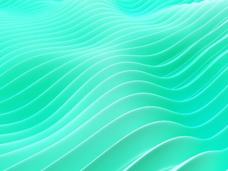 Soft shapes in green color on wavy surface. 3d render. 写真素材