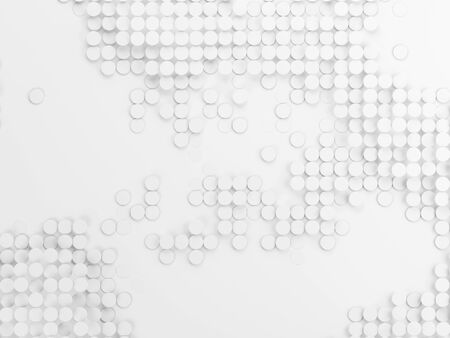 Array of circles on white background. 3d illustration.