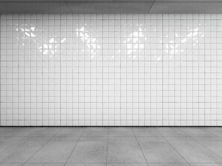 Abstract urban space, empty white tiled wall with concrete floor and ceiling. Side view with copy space to your advertision. Mock up. 3d render. 写真素材