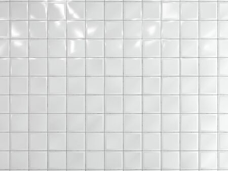 White squares ceramic tile on the wall. 3d render. 写真素材