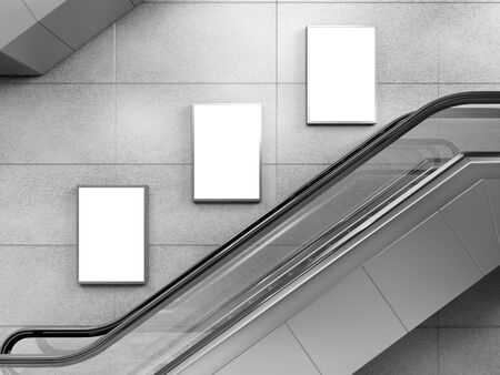 Side view of escalator on wall background with three blank light box. 3D rendering. 写真素材