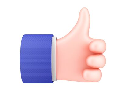 Cartoon hand showing thumbs up on white background. 3d render. 写真素材